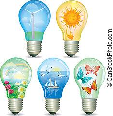 eco, astratto, set, lampada