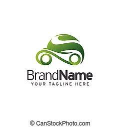 eco, automobile, vettore, disegno, sagoma, logotipo