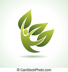eco, ballerino, verde, icona