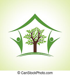 eco, casa, albero, icona