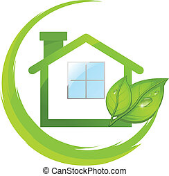 eco, casa, verde, mette foglie, logotipo