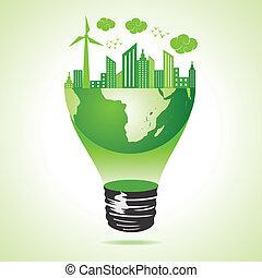 eco, città, concetto, terra verde