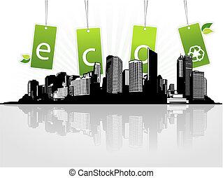 eco, città, tags., vettore, arte
