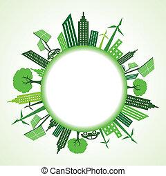 eco, cityscape, cerchio, intorno