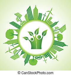 eco, cityscape, verde, icona