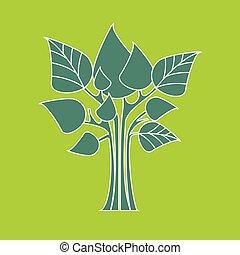 eco, concept., albero, astratto, vettore, congedi verdi