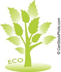 eco, concept., albero, vettore, congedi verdi