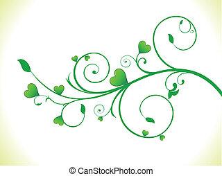 eco, cuore, astratto, pianta verde