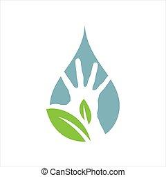 eco, disegno, concetto, verde, mano, natura, persone, ispirazione, vettore, logotipo, proteggere
