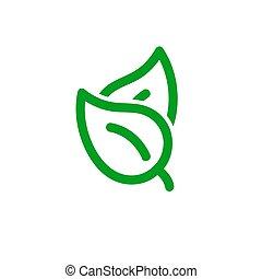 eco, foglia, illustrazione, vettore, icona, simbolo., isolato, paio, primavera, casato, bianco, fondo.