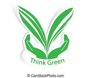 eco, foglia, verde, mano, concetto