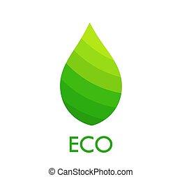 eco, foglia verde, simbolo.