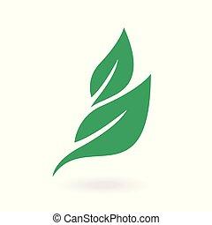 eco, foglie, foglia, icona, vettore, vector., verde, etichette, illustration., concetto