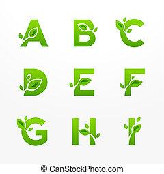 eco, fon, lettere, logotipo, set, vettore, verde, ecologico, leaves.
