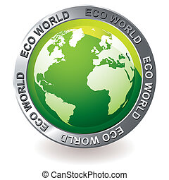 eco, globo terra, verde, icona