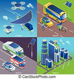 eco, icone, città, illustrazione, 2x2, far male, isometrico, fondo, isolato