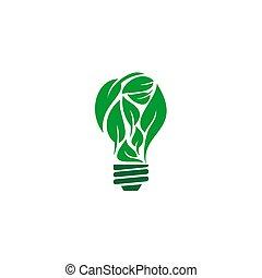 eco, illustrazione, foglia, bulbo, disegno, vettore, luce, concetto
