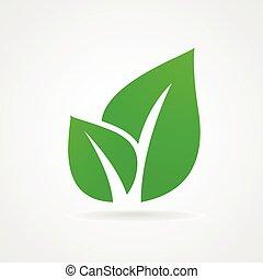 eco, illustrazione, foglia, icona, verde, isolato