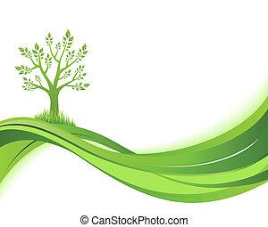 eco, illustrazione, verde, fondo., natura, concetto
