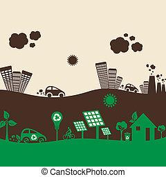 eco, inquinato, città