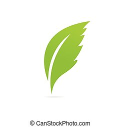 eco, leaf., verde, icona