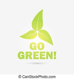 eco, leaves., vettore, green!, andare, icona