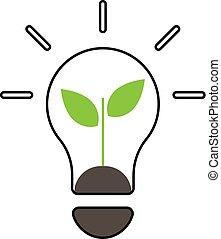 eco, linea, icon-, concetto, energia
