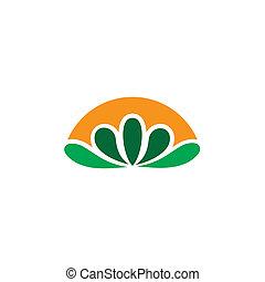 eco, logotipo, astratto, foglia