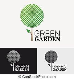 eco, logotipo, concept., albero