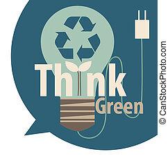 eco, luce, concept., albero, interno., vettore, illinois, verde, bulbo, pensare