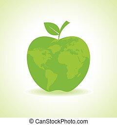 eco, mappa, mela, icona