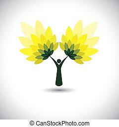 eco, persone, albero, foglie, -, icona, vector., verde, concetto