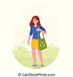 eco, riciclaggio, simbolo., borsa, presa a terra, ragazza