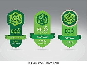 eco, riciclare, set, etichetta