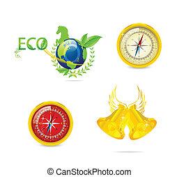 eco, simboli, astratto, set, viaggiare