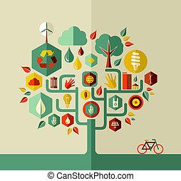 eco, sostenibile, vita, albero