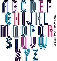eco, strisce, font, stile, retro