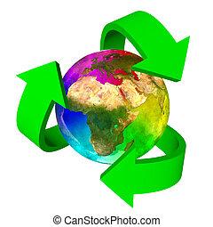 eco, terra pianeta, simbolo, arcobaleno, africa, -, europa, asia