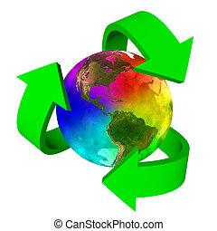 eco, terra pianeta, simbolo, arcobaleno, america, -