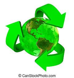 eco, terra, simbolo, america, -, verde
