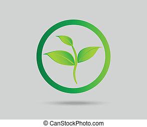 eco, verde, concetto, foglia, icona