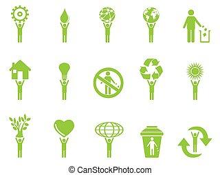 eco, verde, figure, bastone, icone