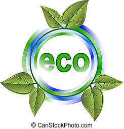 eco, verde, icona