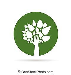 eco, verde, vettore, albero, mano