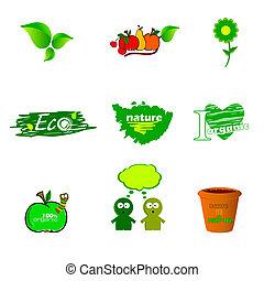 eco, vettore, verde, icona