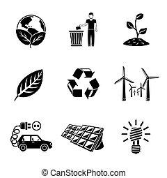 ecologia, disposizione, set, automobile., potere, immondizia, icone, -, terra, riciclare, elettro, pianta, potere, segno, foglia, stazione, solare, luce, vettore, verde, vento, bulbo