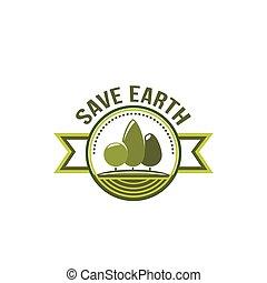 ecologia, eco, albero, ambiente, vettore, verde, icona