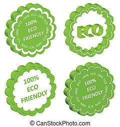 ecologia, eco, amichevole, etichetta, francobollo, vettore, fondo, o