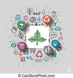 ecologia, icone, collage, emblem., ambiente, fondo