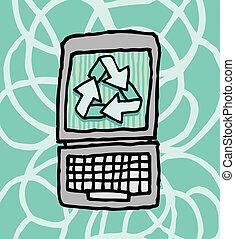 ecologia, laptop, riciclaggio, /, computer, verde